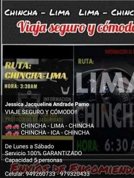 Viajes Chincha-Lima-Chincha y a cualquier destino