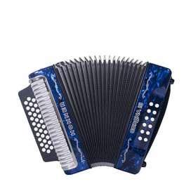 Acordeon Hohner CORONA III Music Box Colombia  Azul   5 LETRAS BESAS