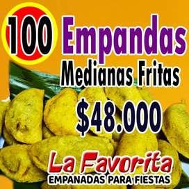 100 EMPANADAS MEDIANAS FRITAS