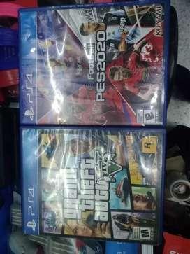 Juegos de  playstion 4. GTA 5 y PES 2020