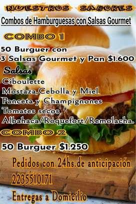 Hamburguesas 90 gr con salsas y panes o solas