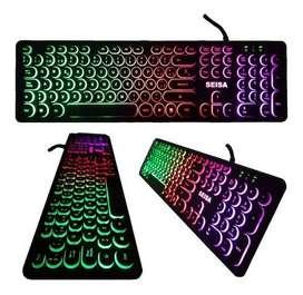 Teclado gamer Seisa Dn-DY02 QWERTY español España de color negro con luz RGB