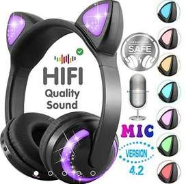 Audífonos Led Bluetooth M2 inalámbricos, orejas de gato plegables micrófono Gamer