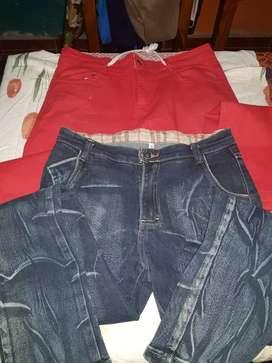 Jeans azul y rojo
