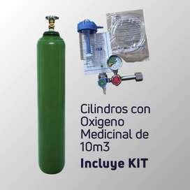BALON CILINDRO DE OXIGENO VACIO DE 10 M3 + KIT COMPLETO, UBICANOS EN LINCE