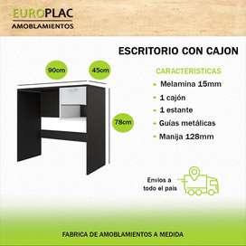 ESCRITORIO 1 CAJÓN Y ESTANTE COLORES COMBINADOS (Modelo E01)