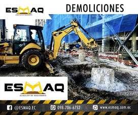 Demoliciones de todo tipo de estructura de Hormigon Armado, Alquiler de Martillo Hidraulico en Retroexcavadora, Bobcat