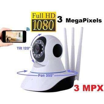 Camara Vigilancia Seguridad Ip Robotica 3MPX 3 ANTENA WIFI FULLHD CCTV 0