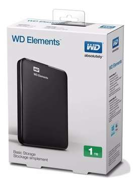 Disco Rigido Externo Portatil WD Elements 1 TB USB 3.0 apto PS4