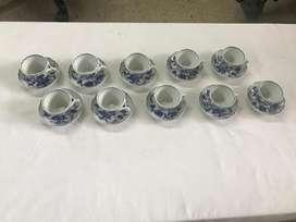 JUEGO DE 10 POCILLOS Y PLATOS MARCA BLUE DANUBE JAPAN