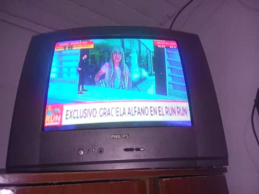 Vendo TV PHILIPS DE 21 PULGADA con control DETALLE sólo le falta TRES BOTONERA ala tele pero anda todo con su control 0