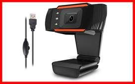 Webcam con micrófono y luz led cámara   web HD Streaming ordenador Webcam cámara web USB para ordenador portátil/PC/Mac,