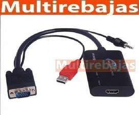 Cable Convertidor De Vga Audio A Hdmi
