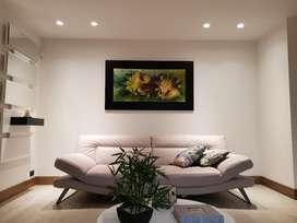 Cuadro Al Oleo, Obra de Arte, Decoración, cuadros, salas, alcoba, cama, nochero, lámparas, muebles, puertas, mesas.