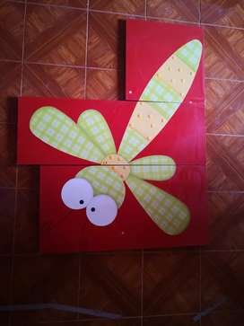 Cuadro triptico de libélulas