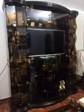 Vitrina de Televisión y exhibidora de vinos.