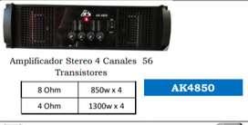 AMPLIFICADOR AUDIO KING 4850 4 CANALES 56 TRANSISTORES