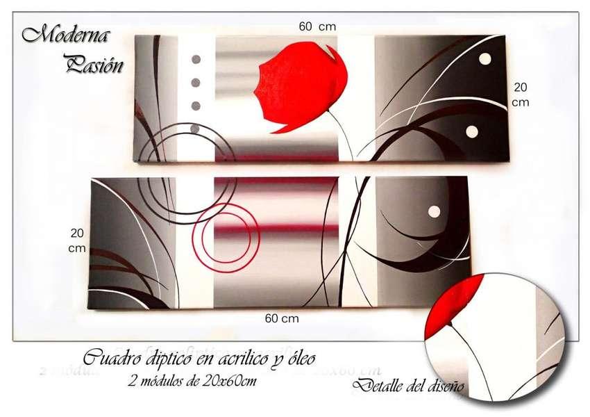 Cuadros artesanales unicos pintados a mano en acrilico y oleo tripticos polipticos modernos abstractos decorativos 0