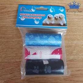 Bolsas Higienicas Prácticas Mascotas Perros Desechos X3