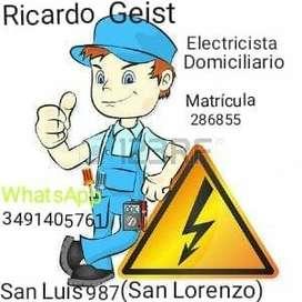 Electricista domiciliario matriculado.