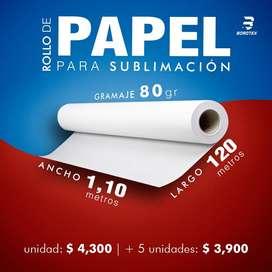 ROLLO DE PAPEL PARA SUBLIMACION 120 METROS!