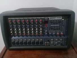 Consola Lexsen M408 potenciada 8 canales 2x150w y dos parlantes