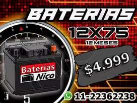 Bateria 12x75 (Autos Gnc-Nafta-Diesel)