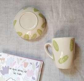 Taza y cuenco p/galletitas en ceramica