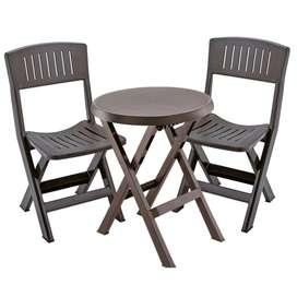 Combo mesa y sillas plegables exteriores