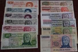 """Lote completo de Billetes Argentinos  """"Pesos Ley 18188"""" Serie A (menos el billete de 5000)"""