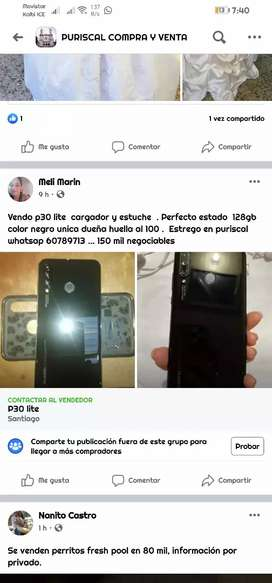 Vendo p30 lite color negro 128gb perfecto estado