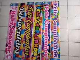 Festón o banner de Feliz cumpleaños, bienvenidos y baby shower X 2 unidades