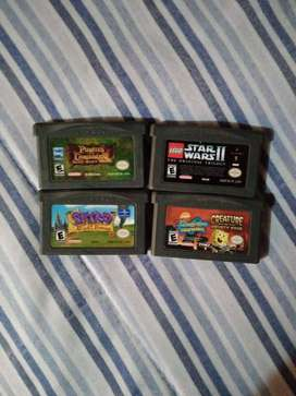 Juegos 4 unidades game boy advance star wars /spyro/piratasdelcaribe/bobesponja
