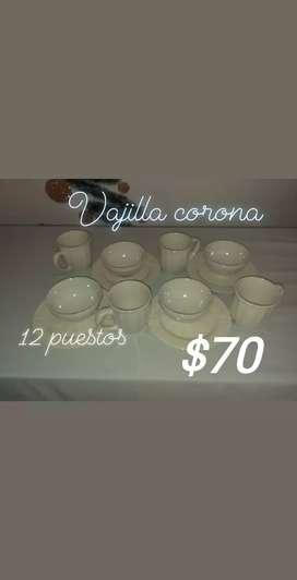 Se vende vajilla original d corona 12 piezas