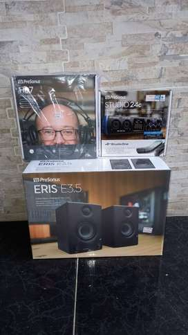 combo Presonus, monitores de estudio eris 3.5 activos, interfaz de audio Studio 24c, audífonos profesionales de monitore
