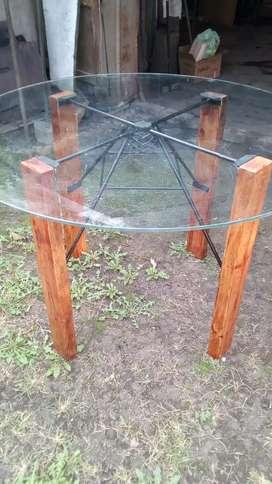 Mesa x microondas o heladera redonda de vidrio de1,20x6mm de espesor