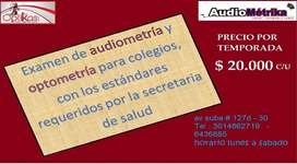 EXAMEN Y/O TAMIZAJE DE AUDIOMETRÍA Y OPTOMETRÍA PARA COLEGIOS
