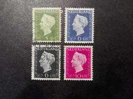 4 ESTAMPILLAS HOLANDA, 1947, REINA GUILLERMINA, USADAS