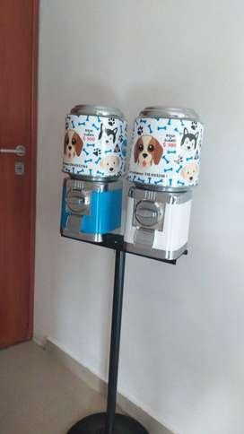 Dispensador para mascotas bolsas para heces, guantes y croqutas