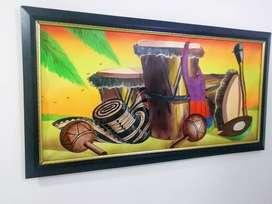 Cuadro al óleo lienzo (pintado a mano) de instrumentos musicales