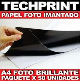 Papel Foto A4 Imantado Magnetico Brillante Impresion X 50