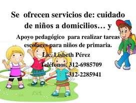 Cuidado de niños y acompañamiento pedagógico para realizar tareas escolares