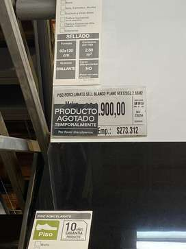 Se vende porcelanato nuevo 60*120 blanco