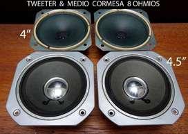 Parlante medio y Tweeter Cormesa 8 ohmios No Technics Pioneer Aiwa Sony