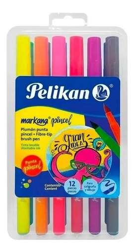 Marcadores Plumones Lettering Pelikan X12 Und Punta Pincel
