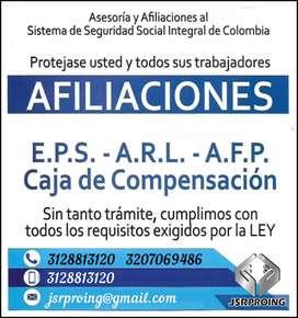 ¡AFILIATE YA!  3128813120 Afiliaciones a EPS, Salud, ARL, Pensión, Caja de compensación