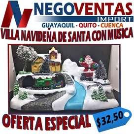 VILLA NAVIDEÑA DECORATIVA DE SANTA CON MUSICA DE OFERTA