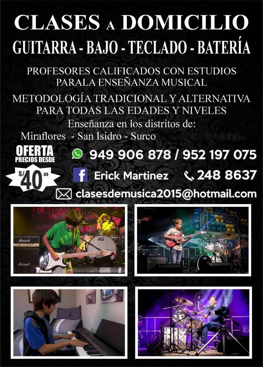 Clases de Guitarra Bajo Teclado Batería a domicilio en Miraflores, San Isidro, Surco y otros, a precios cómodos ! 0