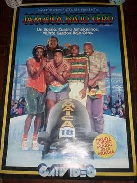 ANTIGUO AFICHE CINE VIDEOCLUB PELICULA JAMAICA BAJO CERO . 1993 DISNEY COOL RUNNINGS FILM . 80 x 55 cm
