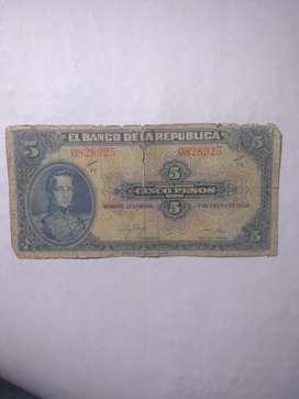 BILLETE COLOMBIA 7 DÍGITOS:  5 (CINCO PESOS ORO) - Año 1950